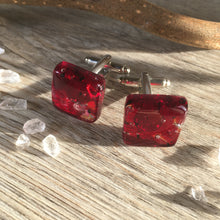 Ruby and Sparkle Cufflinks for Him or Her / I Love You / Ruby Wedding Anniversary