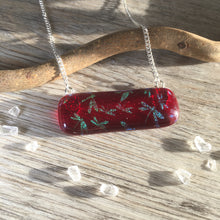 Red Dragonfly Necklace / Horizontal Necklace / Dragonfly Jewellery