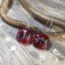 Dragonfly Ruby Red Earrings / Sterling Silver Dragonfly Jewellery / Sparkling Dragonfly