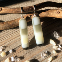 Soft Cream and Grey Fused Glass Sterling Silver Earrings