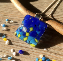 Blue and Yellow Tropical Summer Holiday Necklace / Blue Gift Jewelry