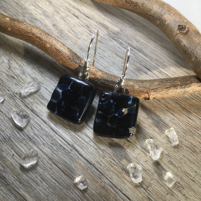 Dark Blue Glitter Bubbles Glass Earrings / Sterling Silver Sparkling Earrings
