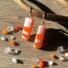 Orange Retro Geometric Fused Glass Sterling Silver Earrings