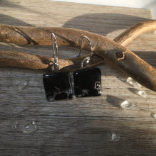 Elegant Black Earrings / Sterling Silver Black Glass Earrings