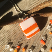Orange Stripes White Glass Necklace / Orange and White Necklace