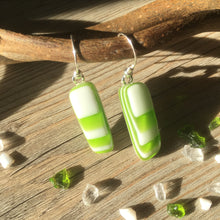 Green Retro Geometric Fused Glass Sterling Silver Earrings
