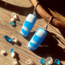 Retro Geometric Turquoise and White Fused Glass Sterling Silver Earrings