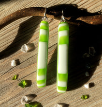 Long Green and White Stripe Fused Glass Sterling Silver Earrings