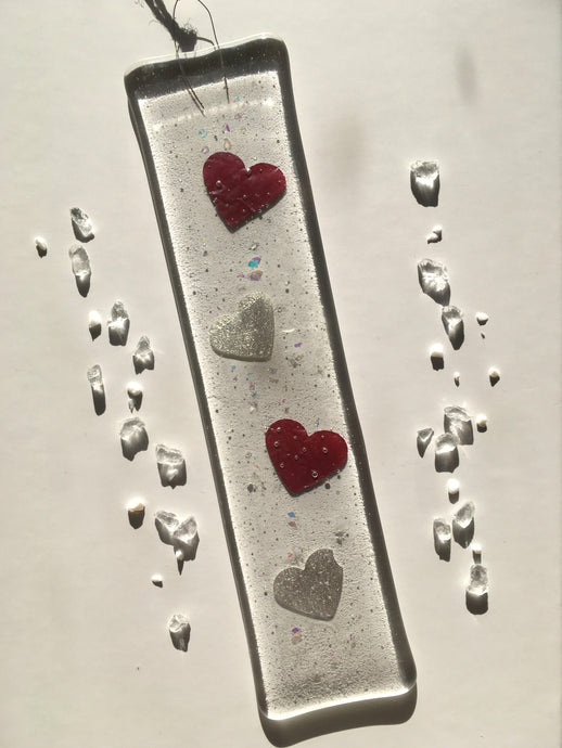 Red and Silver Heart Glass Heart Suncatcher Decoratio