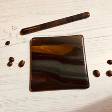 Coaster and Drink Stirrer Set / Coffee Lover Gift / Brown Coaster Gift