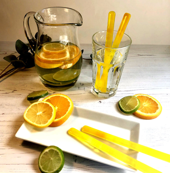 Lemonade Drink Stirrers / Yellow Cocktail Stirrers / Reuseable Drink Stirrers