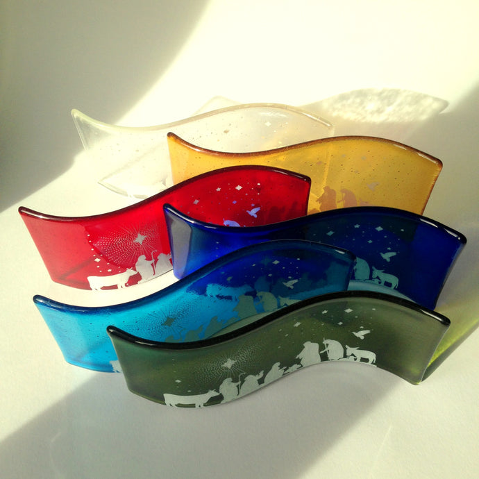 Nativity Scene Glass Curve / Glass Nativity Scene / Christmas Decor
