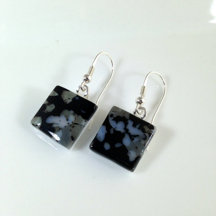 Clearance - 50% off: Handmade Sterling Silver Fused Glass Earrings in Gift Box - black and grey  - FREE UK SHIPPING