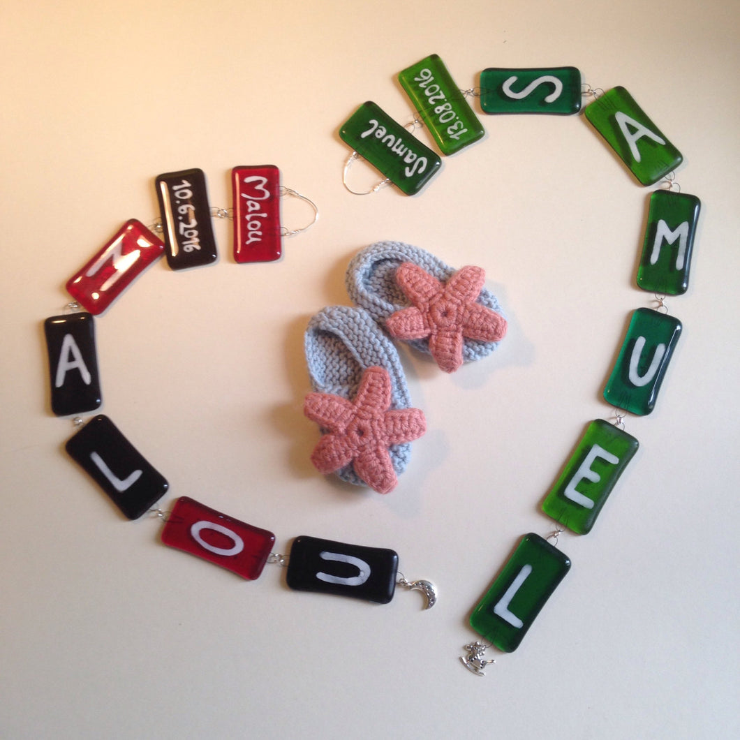 Handmade Fused Glass Personalised New Baby / Mobile / Gift - Free Colour Choice