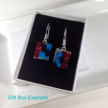 Clearance - 50% off: Handmade Sterling Silver Fused Glass Earrings in Gift Box - red and white  - FREE UK SHIPPING