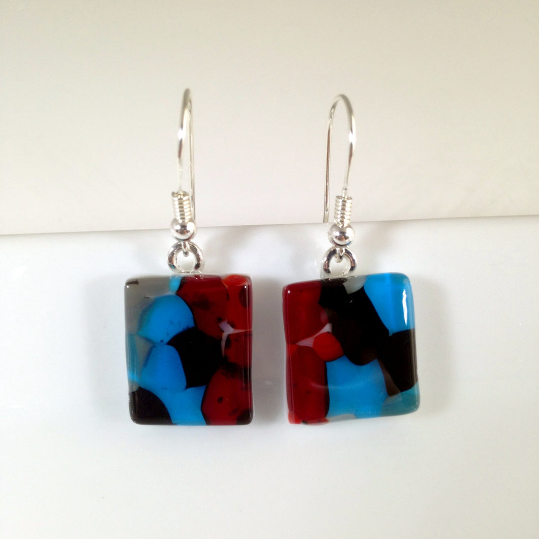 Clearance - 50% off: Handmade Sterling Silver Fused Glass Earrings in Gift Box - black, red and turquoise  - FREE UK SHIPPING