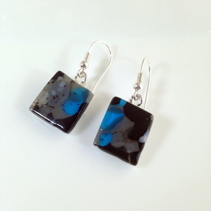 Clearance - 50% off: Handmade Sterling Silver Fused Glass Earrings in Gift Box - black, grey and turquoise  - FREE UK SHIPPING