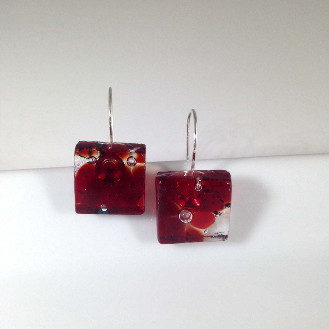 Clearance - 50% off: Handmade Sterling Silver Fused Glass Earrings in Gift Box - ruby red and clear  - FREE UK SHIPPING