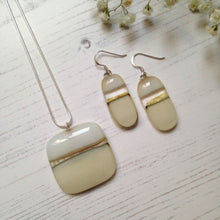 Clearance: Matching  Fused Glass Necklace and Earrings - Cream, Silver and Gold