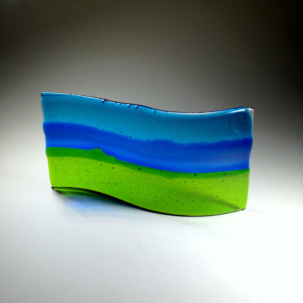 Blue and Green Curved Glass Art / Original Fused Glass / Bathroom Art / Colour Band