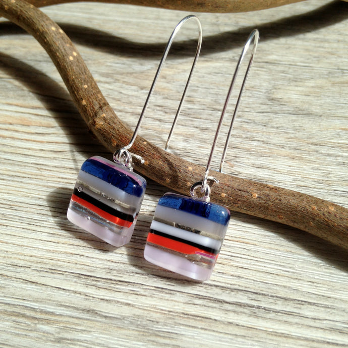 Candy Stripe Kidney Earrings / Striped Earrings / Fused Glass Earrings