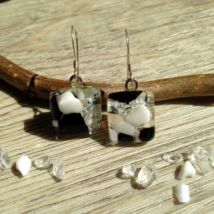 Business Chic / Office Jewellery / Black and White / Sterling Silver Glass Earrings