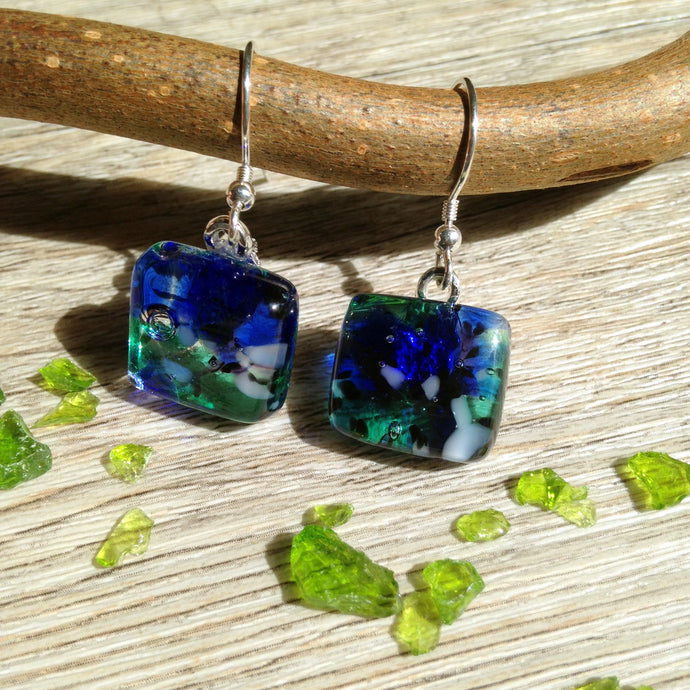 Blue and Green Earrings / Nature Lover / Nature Earrings / Sterling Silver Earrings