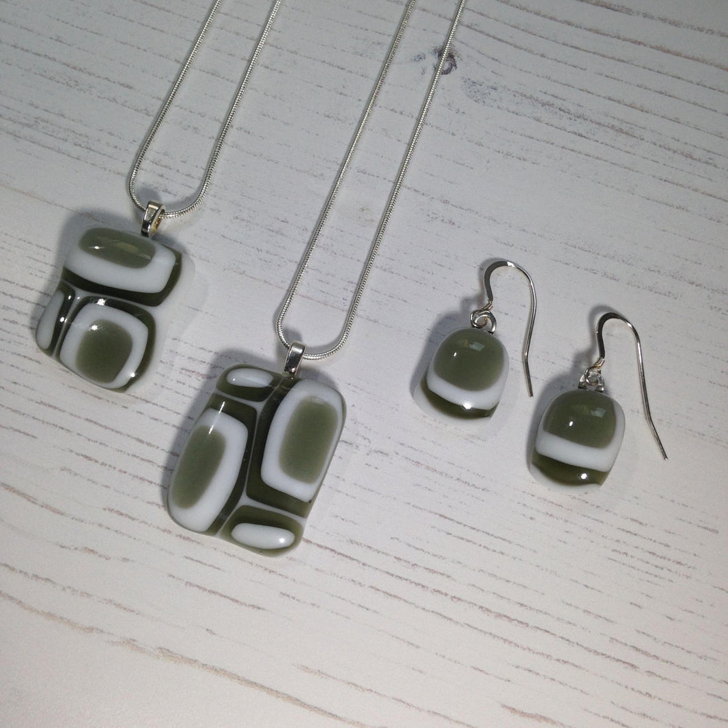 Clearance: Handmade Silver Fused Glass Necklace and Earrings - Grey and White