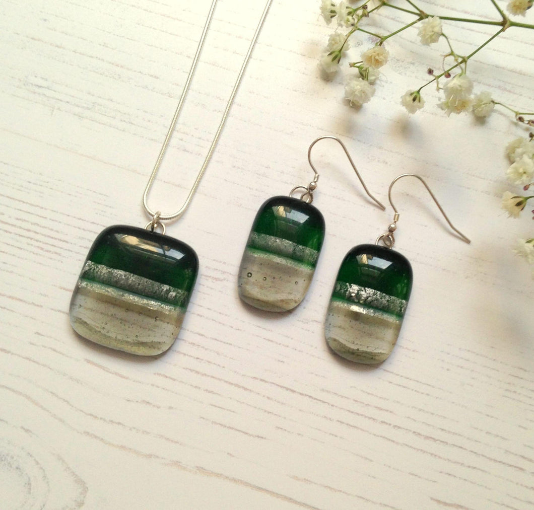 Clearance: Glass Necklace and Earrings Set - Kelly Green, Grey and Silver