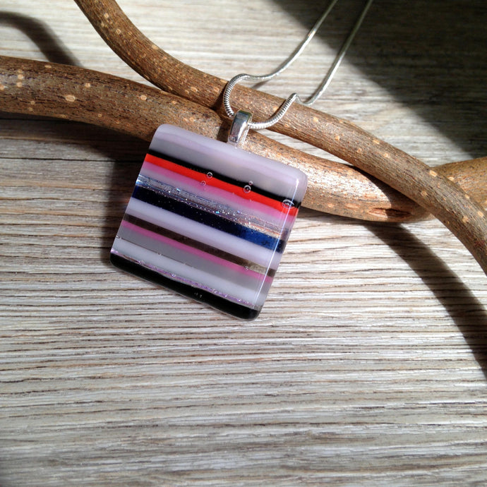 Striped Pendant Necklace / Statement Necklace / Mom Gift Pendant / Stripy Jewellery
