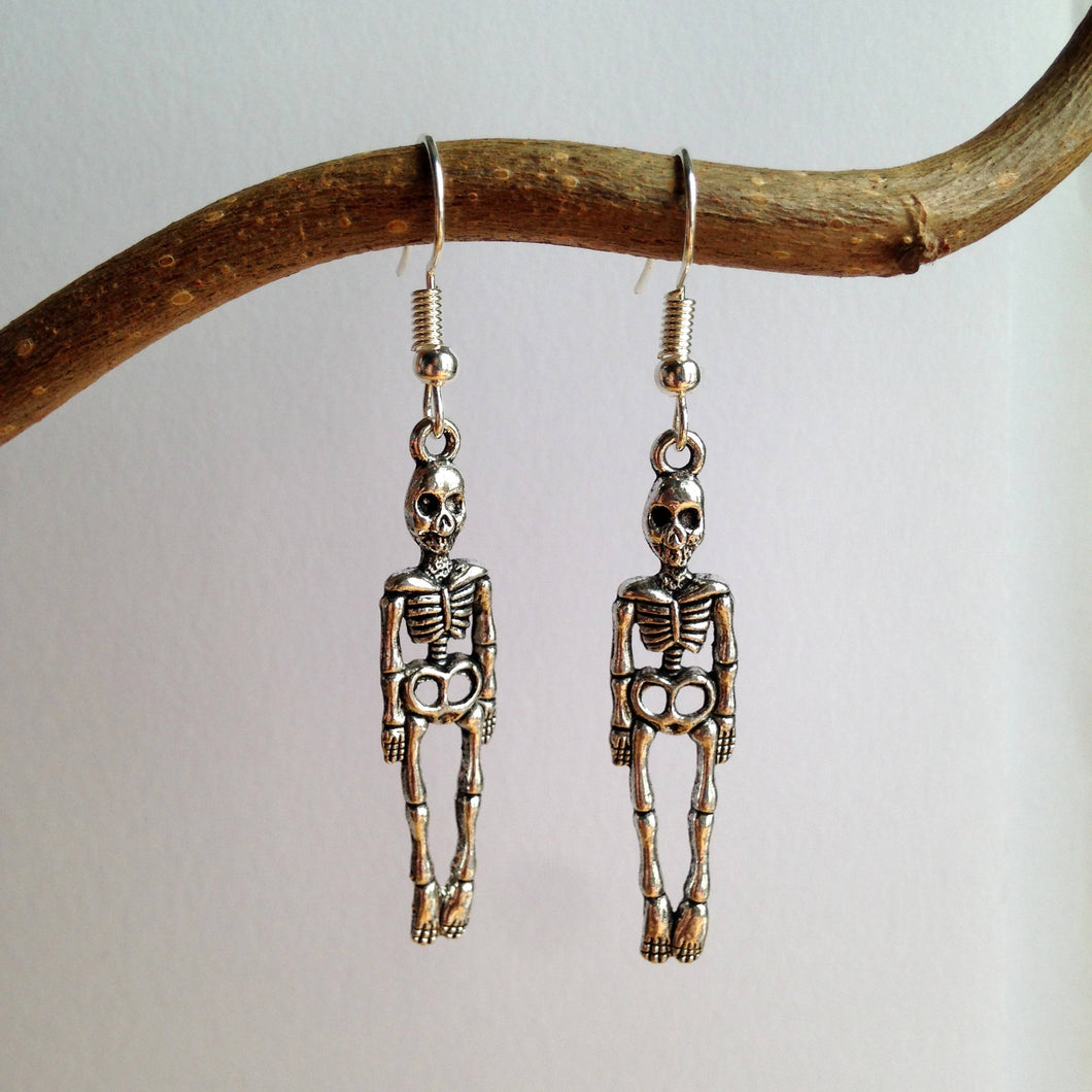 Skeleton Earrings / Skull Jewelry / Pirate Earrings / Silver Skeleton