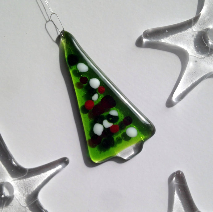 Green Christmas Tree Ornament / Handmade Festive Decor