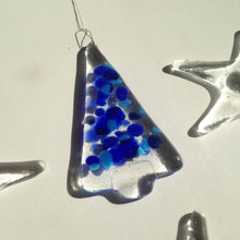 Blue Christmas Tree Decoration Ornament / Blue Glass / Festive Decor