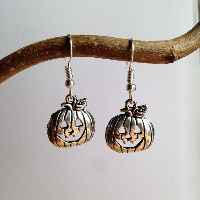Pumpkin Earrings / Pumpkin Jewelry / Harvest Earrings / Silver Pumpkin