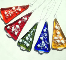 Orange Christmas Tree Decoration Ornament / Handmade Fused Glass / Christmas Decor