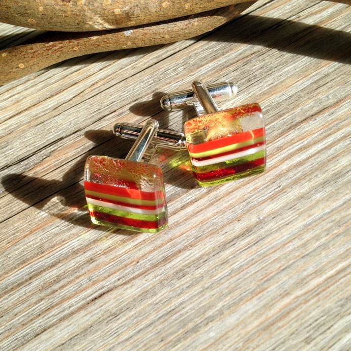 Christmas Cufflinks / Novelty Cufflinks / Christmas Outfit / Striped Cufflinks