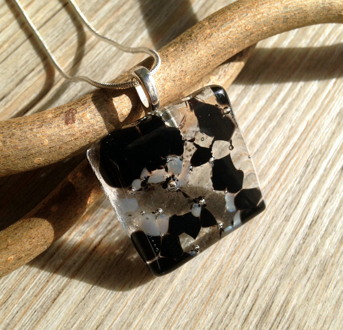 Black and Grey Jewelry / Black Necklace / Black and Grey Square Pendant Necklace