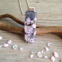 Pastel Pink Necklace / Pink and Grey / Long Pendant Fused Glass Necklace