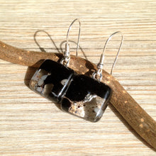Black and Grey Fused Glass Earrings / Office Outfit / Business Look