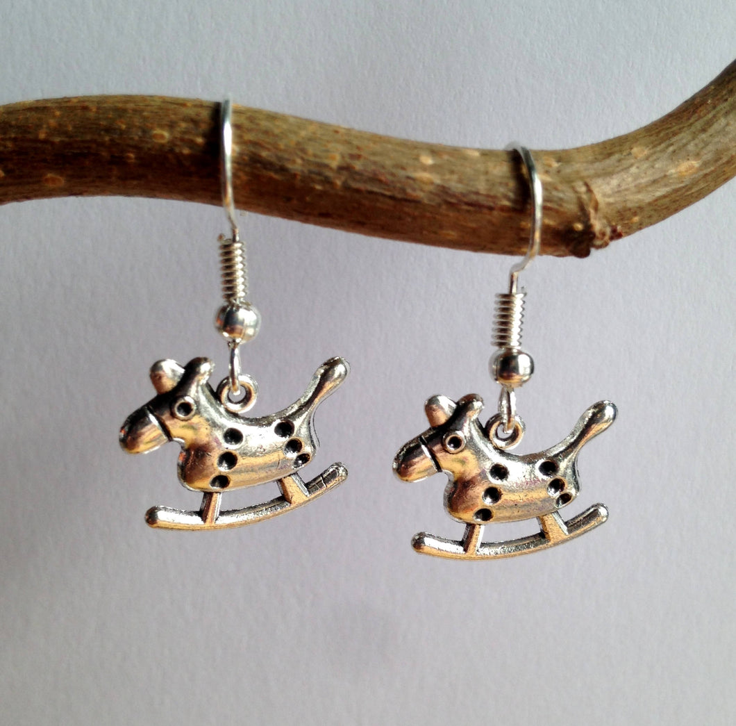 Rocking Horse Earrings / Toy Earrings / Silver Rocking Horse / Childhood memories