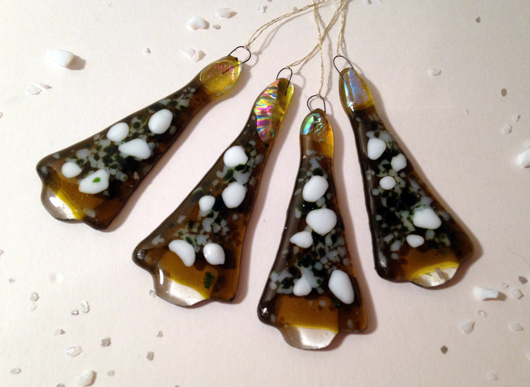Handmade Fused Glass Christmas Tree Decoration Ornament - Set of 4