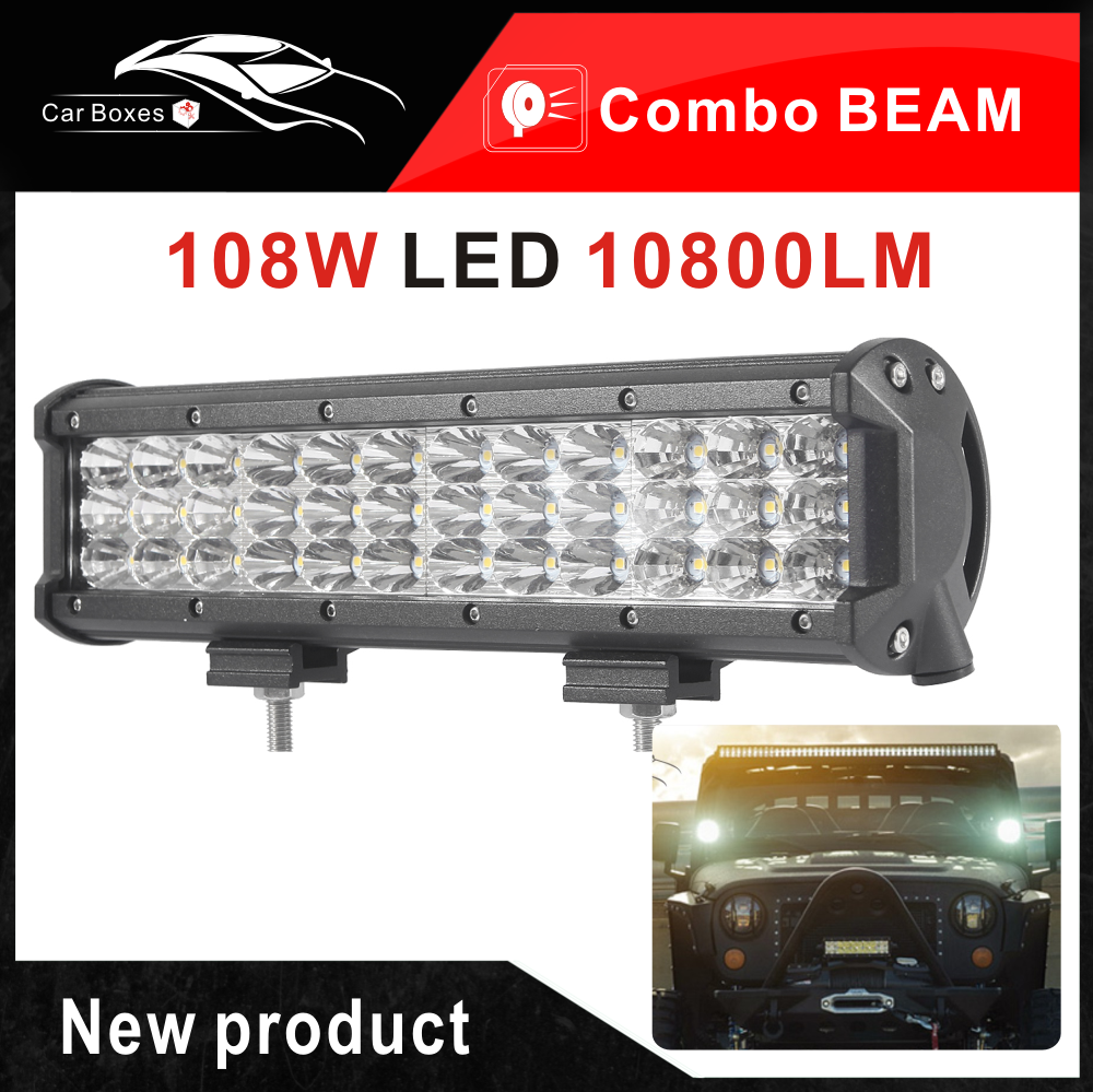 New 108w Cree Chips Led Offroad Driving Worklight Bar For Truck Boat Jeep Wrangler Light Bulbs Work Suv 4x4 12v