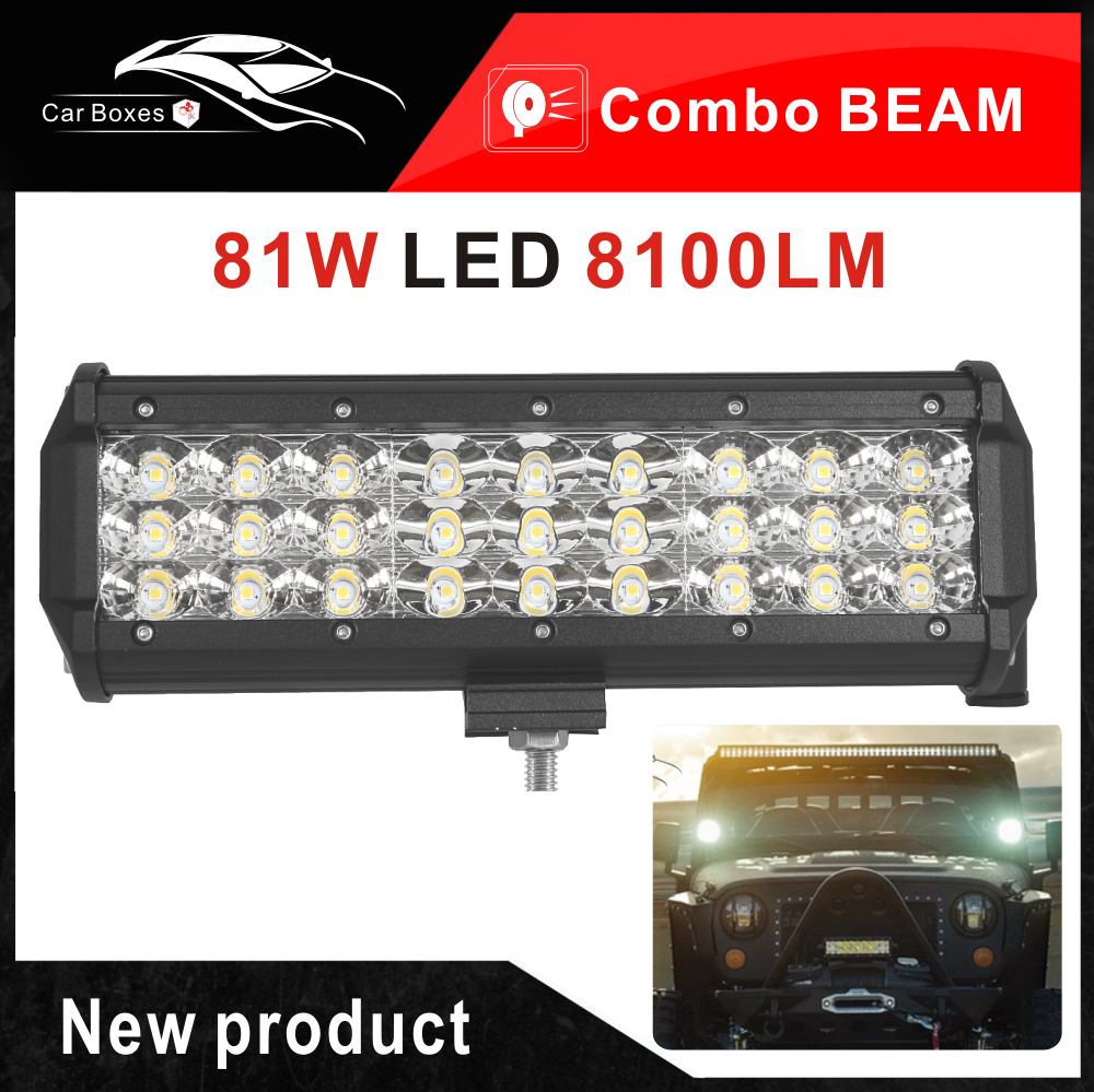 9inch 81w 3 Row Led Work Light Bar For Car Tractor Boat Atv Suv Leds On 12v Cars And Trucks New 9 Inch Jeep Wrangler Truck