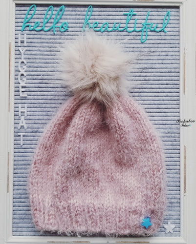 Pink Hygge Hat with Faux Cream Pom