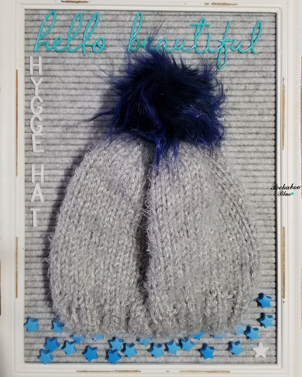 Adult Cloud Hygge Hat with Dark Blue Faux Fir Pom