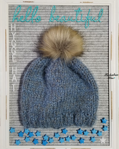 Slate Blue with Gray Alpaca /Hygge Hat with Faux Fir Pom