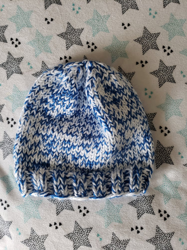 Adult Blue and White Hand Knit Confetti Hat