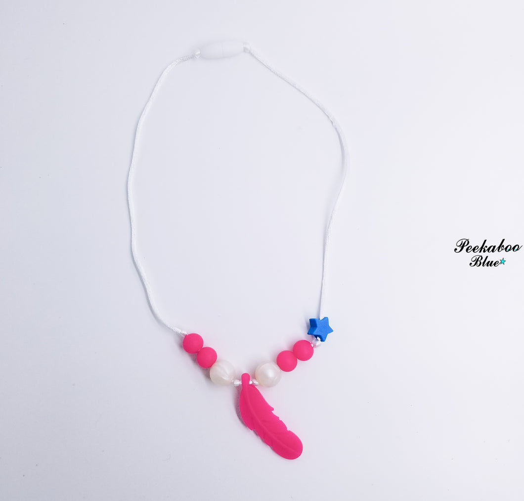 Hot Pink and White Pearl Silicone Feather Teething Necklace
