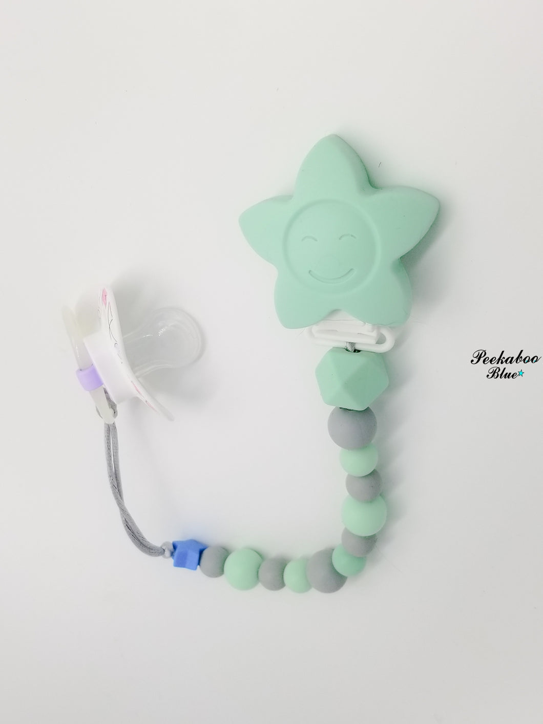 Light Turquoise Silicone Star Pacifier Clip, Dummy Holder, Dummy Clip, Binky Clip