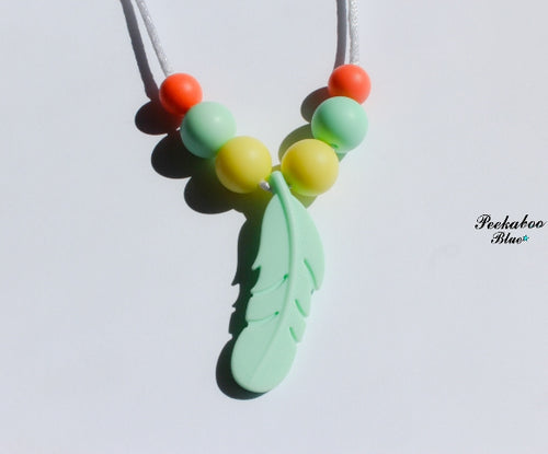 Mint Silicone Feather Toddler Teething Necklace